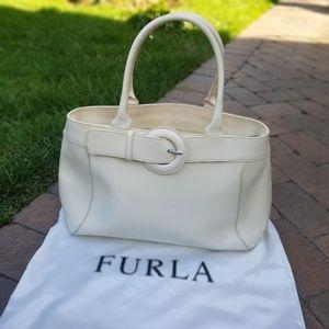 Furla white leather shoulder bag